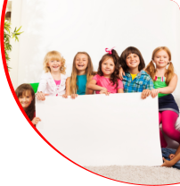 Kids holding a white board
